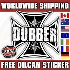 dubber maltese / iron cross sticker/ hotrod kustom decal 85mm x 85mm black