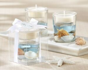 Seashell Gel Beach Ocean Tealight Candle Bridal Shower Wedding Favor