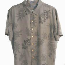 Grant Thomas 100% Silk Hawaiian  X Large Black Button Down Front Pocket Shirt