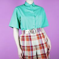 VINTAGE Retro Teal Turquoise Green Blue Minimal Boxy 80s 90s Shirt Top S 12