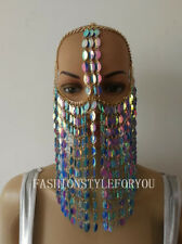 Fashion HE62 Women Gold Chains Green Color Plastic Leaf Mask Face Head Jewelry