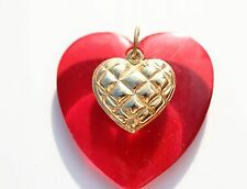Large red Lucite Heart with gold tone heart on top  CHARM pendant