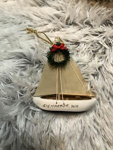 Gig Harbor Washington Sailboat Christmas Tree Ornament 2004
