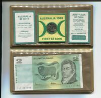 1988 First & Last Australia Series $2 Banknote note & $2 UNC Coin Set A-370