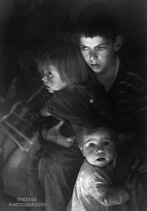 1972 Vintage ANSEL ADAMS 14X11 MATTED PHOTO ENGRAVING Trailer-camp Children
