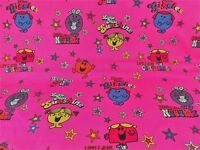 Mr Men and LIttle Miss Stars Fabric Yardage Bright Pink Characters BTY Cotton