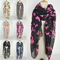Women Ladies Butterfly Print Scarf Fashion Scarves Wrap Long Shawl 180 X 90cm