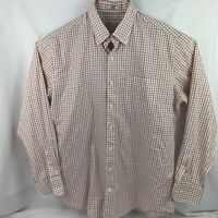 Peter Millar Button Up Shirt Men's L Long Sleeve White Red Plaid 100% Cotton