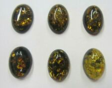 Natural Calibrated Oval Green Amber Cabochon Gemstones 10x14mm 14x10mm Jewelry