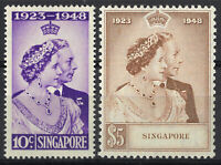 Singapore 1948 Silver Wedding Set of 2 Stamps SG31/32 MLH 16-15