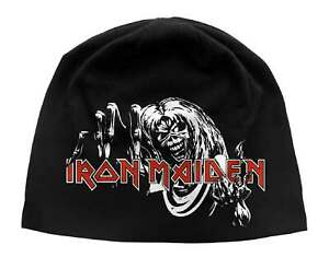 Iron Maiden Beanie Hat Cap Number Of The Beast Logo Official Black Jersey Print