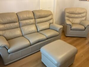 G Plan malvern 3 seater leather sofa, armchair and footstool
