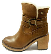 REFRESH - 72608 -Camel Brown Ankle Boots With Side Zip & Fur Lining