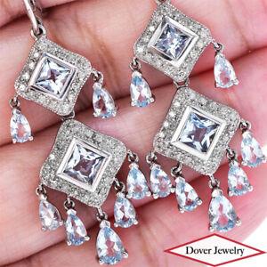 Estate Diamond 4.79ct Aquamarine 14K Gold Dangle Drop Earrings 8.9 Grams NR