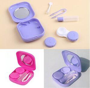 Contact Lens Travel Kit Case-Mirror Tweezers & Solution Storage Set for Lenses