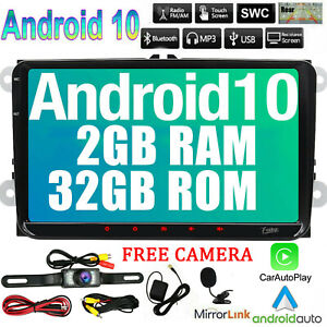 Android 10 9Inch Double 2DIN Car Radio GPS SAT Player WIFI BT Navi For VW Camera