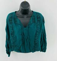Blue Rain Women's Crop Top Blouse Long Sleeve Rayon Teal Size XS