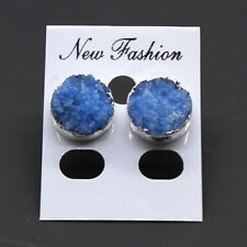 Natural Raw Mineral Blue Agate Druzy Quartz Round 12mm Women Stone Stud Earrings