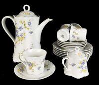 Hutschenreuther Kaffeeservice Teeservice 16 tlg Vintage mit Blumendekor weiss