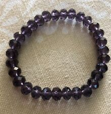 Purple Crystal Stretch Bracelet Made With 6mm Swarovski Rondelle Components