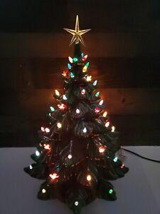 "STUNNING Vintage 1970's 24"" Green 4 Piece Ceramic Christmas Tree Atlantic Molds"