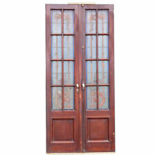 Antique Argentine Beaux-Arts Mahogany Leaded Painted Glass Door 19th Century