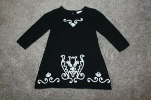 Hanna Andersson Black Sweater Dress White Tulip Baby Girls 70 US 9 12 18 months