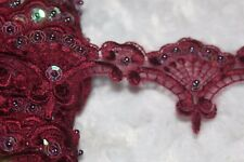 $1.50 yard burgundy maroon Organza lace sewing trim iridescent sequins 2.25""