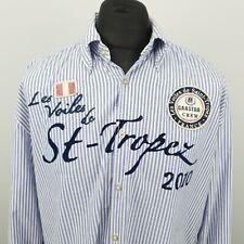 Gaastra Mens Shirt 2XL Long Sleeve Blue Regular Fit Striped Cotton