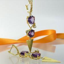B089 Lange Unikat Ohrringe 925 Silber Gelbgold vergoldet mit Amethyst Handarbeit