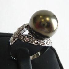 12mm pink purple red gray black blue coffee green shell pearl jade 18KGP ring