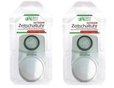 2x Zeitschaltuhr Außen analog 24h Zeitschaltung | Steckdosenschaltuhr mechanisch