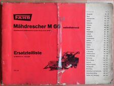 Fahr Mähdrescher M 66 Ersatzteilliste