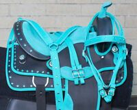 "Used 14"" Western Show Trail Barrel Racing Synthetic Horse Saddle Tack Set Bridle"