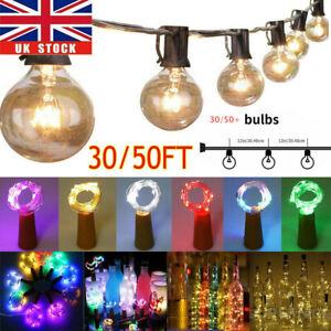 50ft Globe Festoon String Lights Mains Powered 50 G40 Bulbs Warm White Outdoor