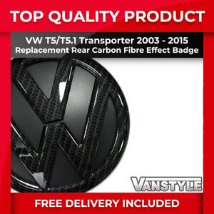 FOR VW T5 TRANSPORTER 03-15 130MM CARBON FIBRE EFFECT REPLACEMENT REAR VW BADGE
