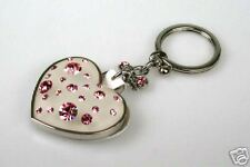 SILVER HEART COMPACT MIRROR WITH CRYSTALS KEYCHAIN-PK -KH51103S