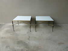 Pair Mid Century French Iron & Brass End Tables W Milk Glass Tops Maison Jansen
