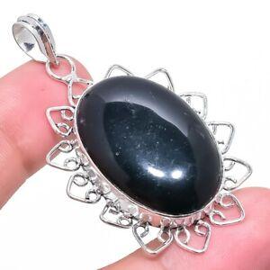 "Black Onyx Gemstone Ethnic Handmade Silver Jewelry Pendant 2.2"" RP2279"