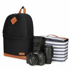 Kattee Professional Canvas SLR DSLR Camera Backpack Laptop Bag Case with