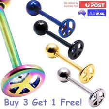 Peace Symbol Hippie Love Surgical Steel Tongue Bar Barbell Ring Ball Retro 14g