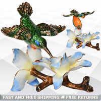 Hummingbird Bird Jewelry Pill Trinket Box with Hinged Lid Enamel Jeweled Crystal
