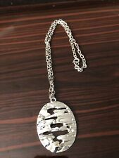 With Oval Modernist Freeform Pendant Vintage Crown Trifari Silver Chain Necklace