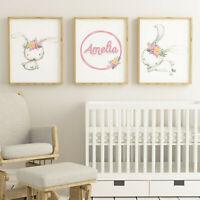 Set of 3 Bunny Rabbit Name Nursery Child Bedroom Word/ Wall Art Print Pictures