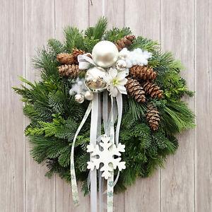 Türkranz silber Türkränze Weihnachten Weihnachtskränze Türdeko Wandkranz  weiß