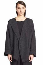 NWT Eskandar COAL Viscose Cotton Wool Textured Knit Open Front Jacket (1) $950