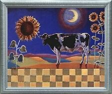 Country Cow and Sunflowers Floral Cow Bathroom Wall Decor Silver Framed Picture
