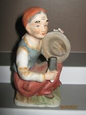 Ceramic figurine no3 old woman sitting with hat size 140 to 180 mm ex/cond