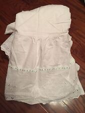 Italian Unisex Cotton Embroidered Crib Sheet Baby Pillow Set White/Green Trim
