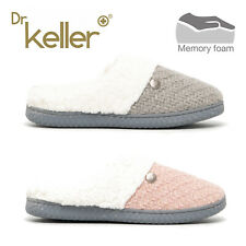 Dr Keller MAE Ladies Knitted Mule Slippers UK sizes 4 5 6 7 8 wide fit Pink Grey